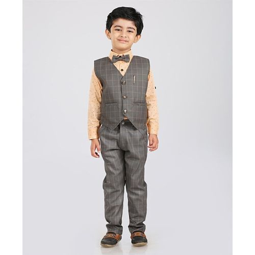 7e93945b12e ... Dapper Dudes Full Sleeves Shirt With Checkered Waistcoat   Bottom Set -  Peach   ...