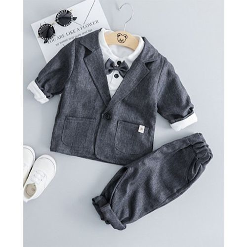 Grey Full Sleeves Solid Coat & Bottom Set With Shirt