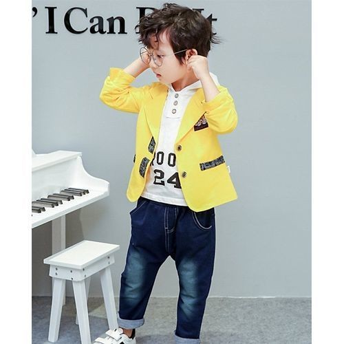 Awabox Yellow Full Sleeves Coat With Hoodie And Bottom