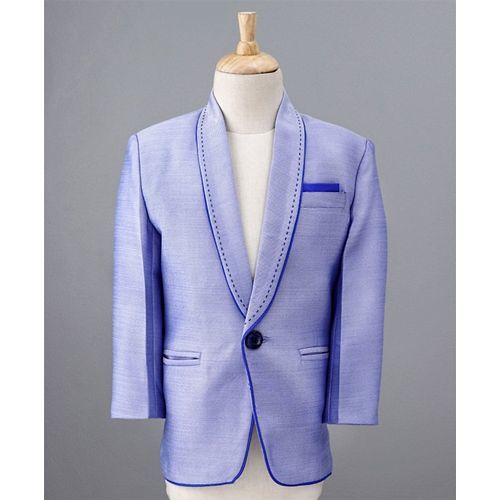 Jeet Ethnics 4 Piece Party Suit Set With Tie - Blue