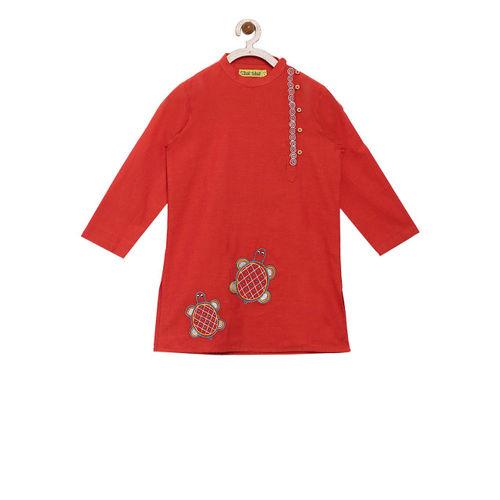 Tiber Taber Boys Red & Beige Embroidered Kurta with Pyjamas