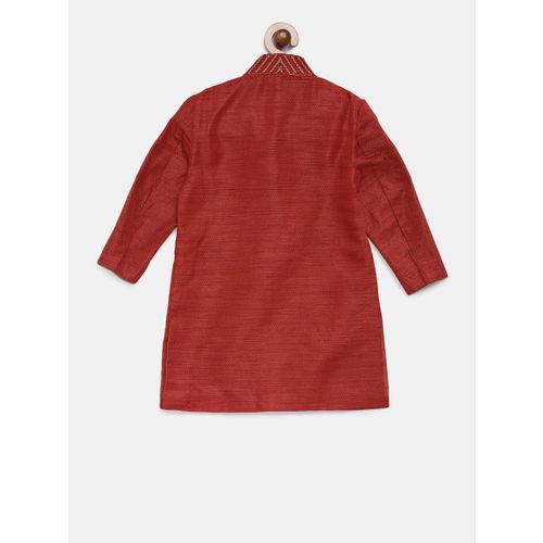 Ethnicity Boys Maroon & Beige Self Design Kurta with Pyjamas