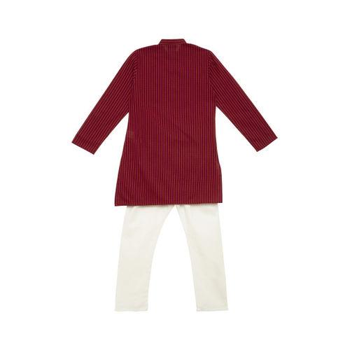 SALWAR STUDIO Boys Maroon & White Self Design Kurta with Pyjamas