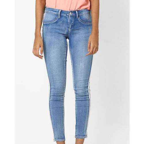 TALLY WEiJL Ankle-Length Washed Skinny Jeans with Contrast Side Taping