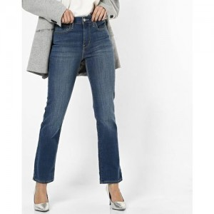 LEVIS Mid-Rise Washed Straight Fit Jeans
