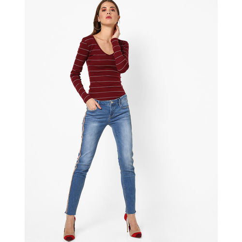 TALLY WEiJL Lightly Washed Skinny Jeans with Side Taping
