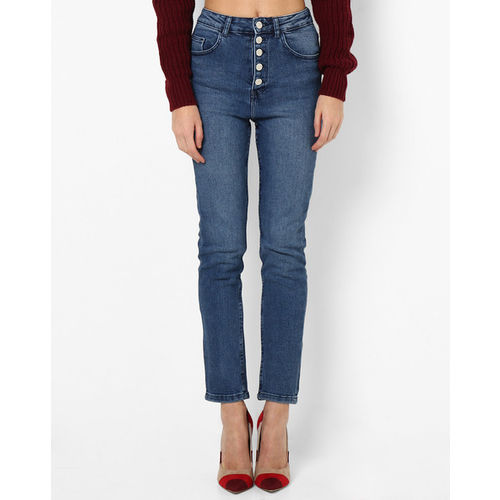 TALLY WEiJL High-Rise Lightly Washed Jeans with Button Fly