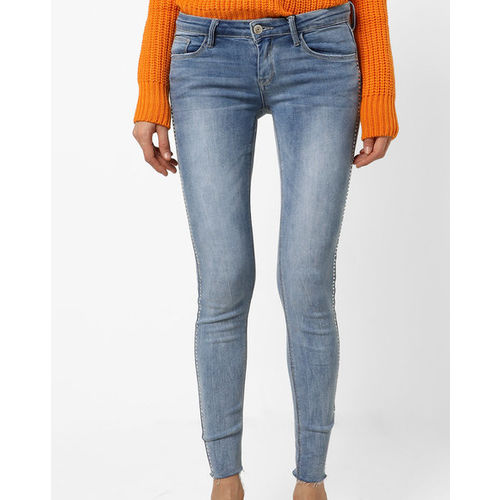 TALLY WEiJL Lightly Washed Skinny Jeans with Raw Edge Hems