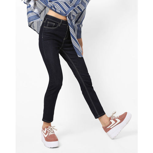 AJIO Mid-Rise Ankle-Length Jeans