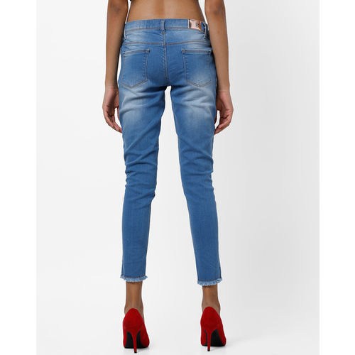 DNMX Mid-Rise Skinny Cropped Jeans with Fringe