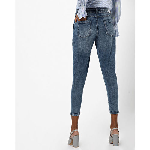 DNMX Acid-Washed Mid-Rise Cropped Skinny Jeans