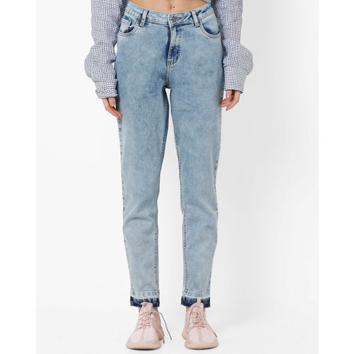 AJIO Mid-Rise Washed Straight Jeans
