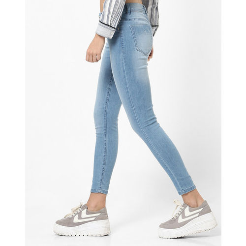 DNMX Washed Mid-Rise Cropped Skinny Jeans