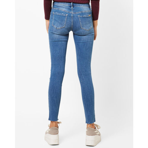 TALLY WEiJL Lightly Washed Skinny Jeans with Frayed Hems