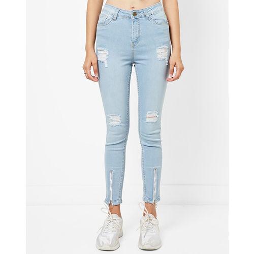 AJIO Distressed Skinny Jeans with Zippered Hems