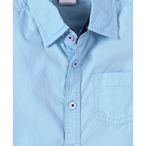 Babyhug Half Sleeves Solid Colour Shirt - Sky Blue