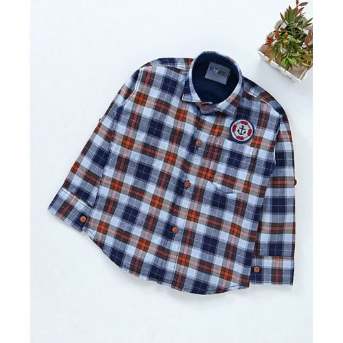 Dapper Dudes Anchor Patch Checks Full Sleeves Shirt - Blue & Orange