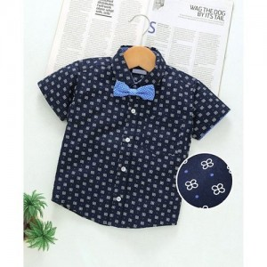 Little KangaroosParty Wear Half Sleeves Printed Shirt With Bow - Navy Blue