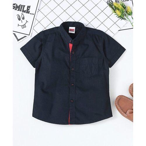 Babyhug Half sleeves Mandarin Collar Solid Shirt - Navy Blue