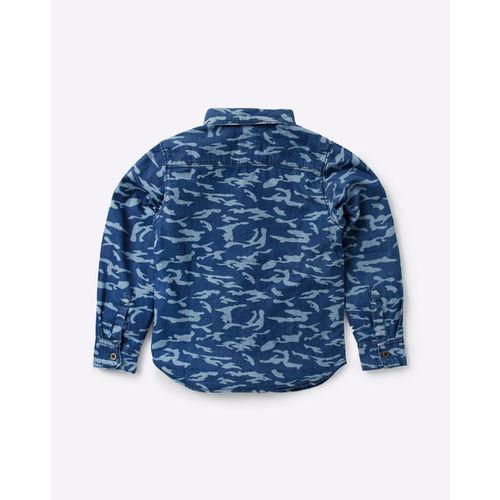 AJIO Camo Print Shirt with Patch Pocket