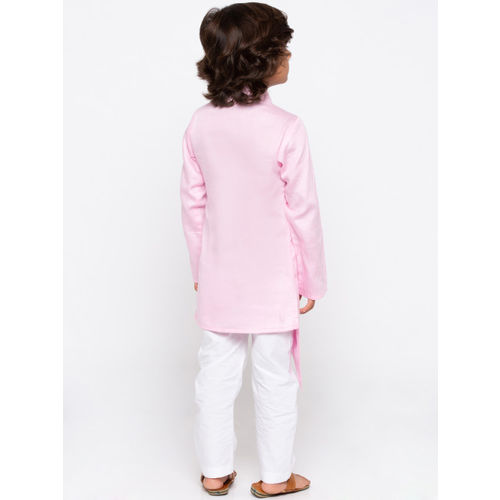 JBN Creation Boys Pink & White Solid Kurta with Pyjamas