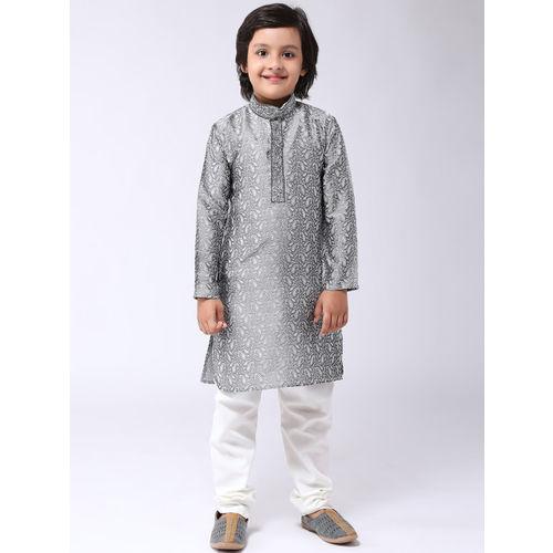 SOJANYA Boys Grey & White Self Design Kurta with Churidar