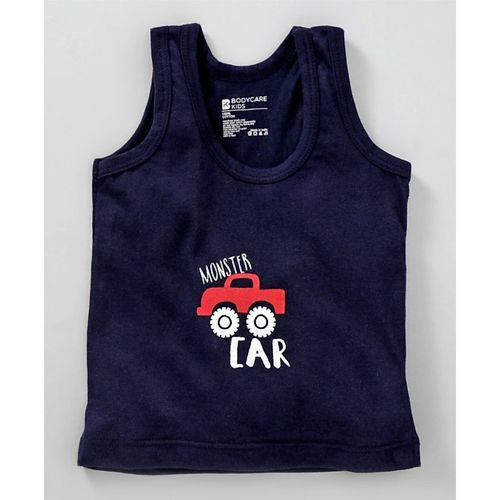 Bodycare Sleeveless Cotton Vests Stripes & Monster Car Print - Navy Blue