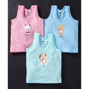 Zero Sleeveless Vests Set Of 3 Bunny Bear Dog Print - Pink & Blue