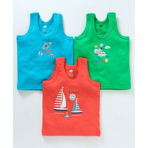 Zero Sleeveless Vests Multi Print Pack of 3 - Blue Green & Dark Peach