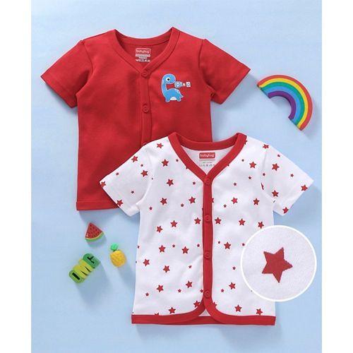 Babyhug Half Sleeves Vests Set of 2 Dino & Stars Print - Red & White
