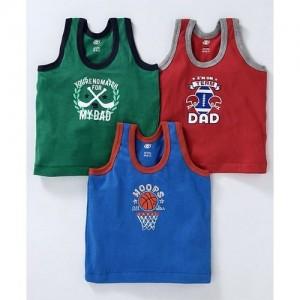CUCUMBER Zero Sleeveless Vests Set Of 3 Multi print Print - Green Blue Rec