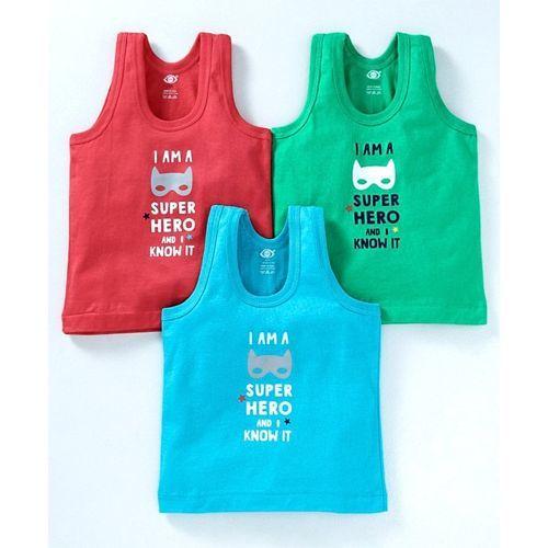 Zero Sleeveless Vest Super Hero Print Pack of 3 - Green Blue Red