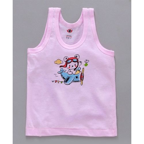 Zero Sleeveless Vest Bear Print - Pink Peach & Blue