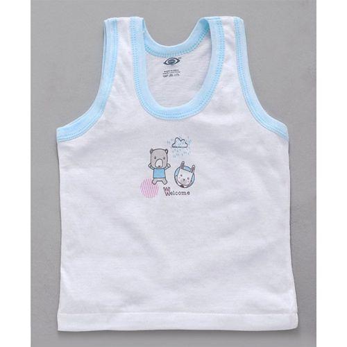 Zero Sleeveless Vest Bear & Bunny Print Pack of 3 - White Blue Pink Green