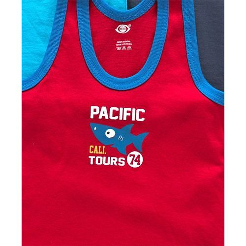 Zero Sleeveless Cotton Vests Pacific Print Pack of 3 - Blue Red