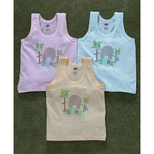 Zero Sleeveless Vests Elephant Print Pack of 3 - Light Pink Aqua Blue Peach
