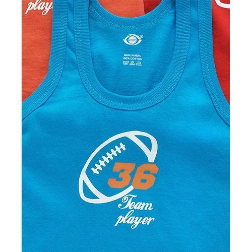 Zero Sleeveless Vests Team Player Print Pack of 3 - Orange Red Blue