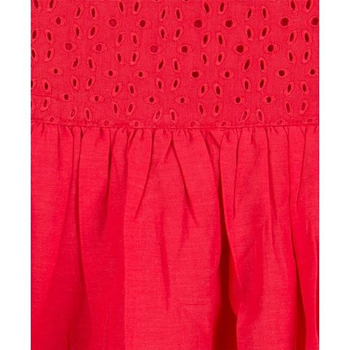 Young Birds Solid Sleeveless Dress - Red