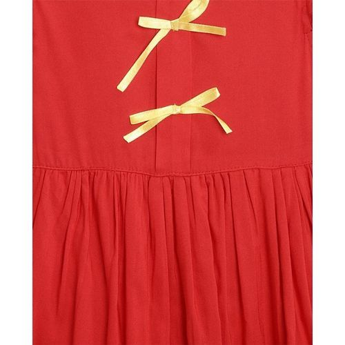 Bella Moda Red Flower Embroidered Short Sleeves Dress