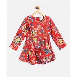 Bella Moda Full Sleeves Flower Print Dress With Sling Bag - Red