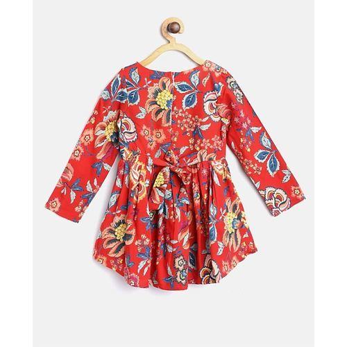 Bella Moda Full Sleeves Flower Print Dress With Sling Bag - Red