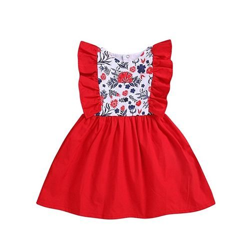 Pre Order - Awabox Floral Print Short Sleeves Dress - Red