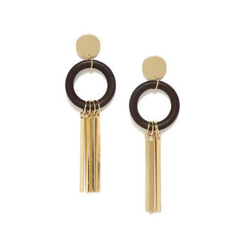 E2O Black & Gold-Toned Contemporary Drop Earrings