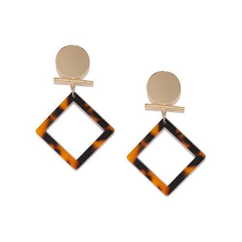 E2O Gold-Toned & Black Square Drop Earrings