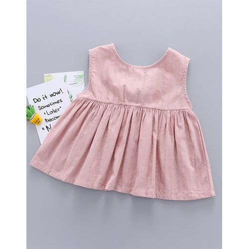 Pre Order - Awabox Knot Detailed Solid Sleeveless Dress - Pink