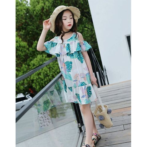 72416ee57b44 ... Pre Order - Awabox Leaf Printed Cold Shoulder Half Sleeves Dress - Blue    White ...