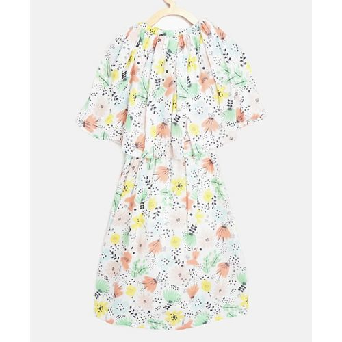 Bella Moda White Three Fourth Sleeves Flower Print Cape Dress