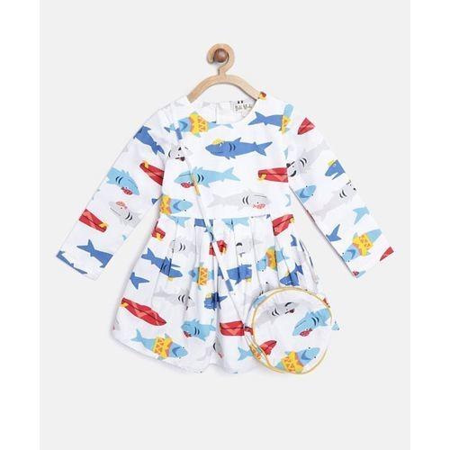 Bella Moda White Shark Printed Full Sleeves Dress With Sling Bag
