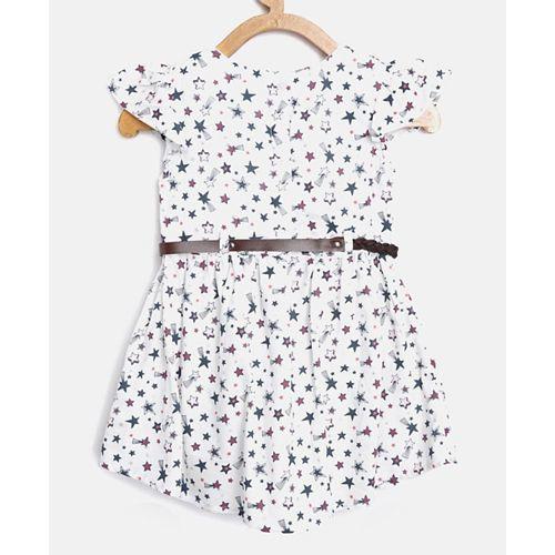 Bella Moda White Cap Sleeves All Over Star Print Dress With Belt