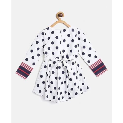 Bella Moda White Polka Dot Print Fit & Flare Full Sleeves Dress With Bag